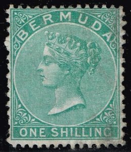 UK STAMP BERMUDA 1865 Queen Victoria 1sh  p14 x 12 1/2  used $168