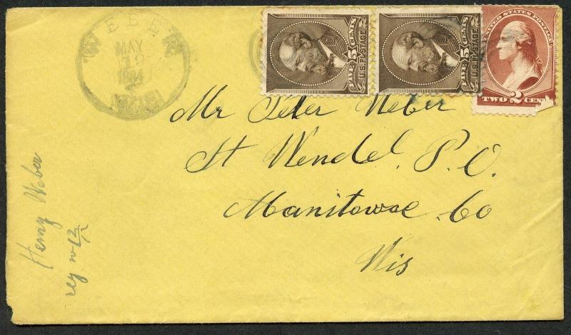US WEBER, WI 5/19/1884 RARE 12C RATE COVER TO MANITOWOC CO, WI AS SHOWN