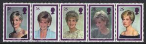 Great Britain 1998 used Princess of Wales complete se-tenant