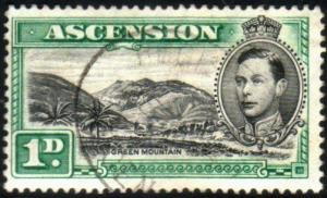 ASCENSION 1938-53 GVI 1d black and green SG39 fine used....................51621