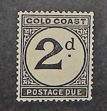 Gold Coast J3. 1923 2p Black postage due