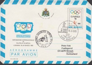 SAN MARINO 1985 Olympic  600L aerogramme used to Switzerland................M979