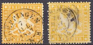 Wuerttemberg  Mi 17ya and 17x Used VF