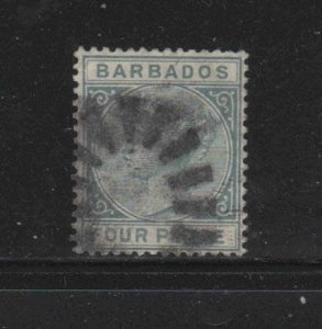 BARBADOS #64  1882  4p   QUEEN VICTORIA    F-VF  USED