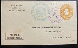 1926 San Jose Costa Rica Postal Stationery airmail Cover To Cristobal Canada