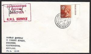 GB SCOTLAND 1979 cover HMS BERWICK navy ship cachet - Greenock cds.........13769