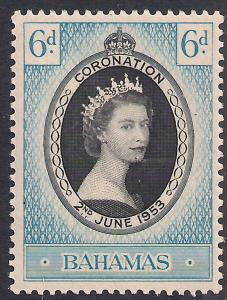 Bahamas 1953 QE2 6d Coronation MM SG 200 ( R1173 )