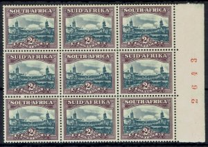 SOUTH AFRICA 1947 UNION BUILDINGS 2D STAMPS MNH ** BLOCK SCREENED PRINTING