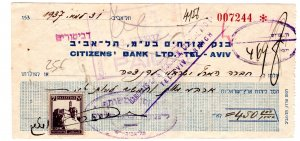 cheque 1937 tel aviv / palestina
