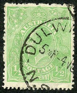 Australia SG48a 1/2d Wmk Mult Crown CA Variety Thin 1 in Fraction