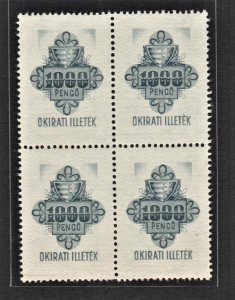 Hungary 1939 Old Revenue Arm & Flower (1000 Pengo, B/4) MNH