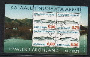 Greenland Sc 322a 1997  Whales stamp sheet used