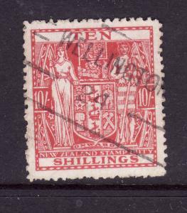 New Zealand-Sc #AR84-used 10sh dk carmine Postal-Fiscal coat of arms-1940-58-