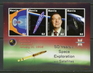 NEVIS 50 YEARS OF SPACE EXPLORATION & SATELLITES EXPLORER I LAUNCHED  SHEET MINT