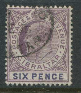 Gibraltar KEVII 1903 6d violet & purple CDS used