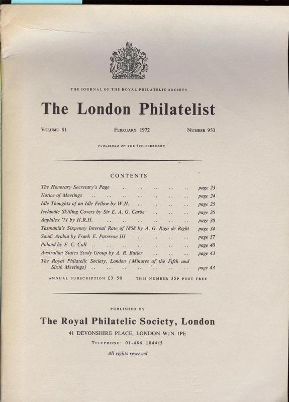 The London Philatelist: Vol. 81, Number 950,