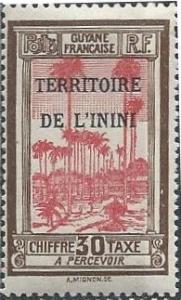 Inini J4 (mlh) 30c royal palms, ol brn & rose red (1932)