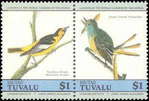 Tuvalu-Niutao #25-28, Complete Set(4), Pairs, 1985, Birds, Never Hinged