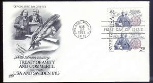 UNITED STATES FDC 20¢ Treaty of Sweden COMBO 1983 Artcraft