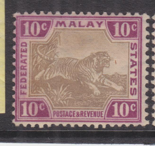 FEDERATED MALAY STATES, 1904 Mult. CA, 10c. Grey Brown & Claret, lhm.