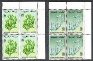 Morocco Flowers 2v Corner Blocks of 4 issue 1987 SG#729-730