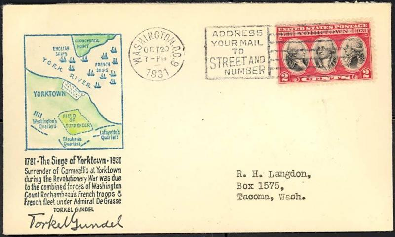 703, SIGNED TORKEL GUNDEL YORKTOWN FIRST DAY COVER