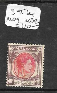 MALAYA JAPANESE OCCUPATION PENANG (P3004B) OKUGAWA 40C SG J64 SIGN ROWELL   MOG
