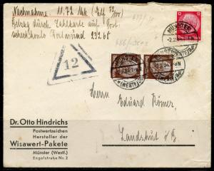 GERMANY MILITARY COVER FROM MUNSTER  2.2.34 HINDENBURG FRANKING