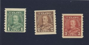 3x Canada George V Mint Coil Stamps; #228-229-230 all MH VF Guide Value = $62.50