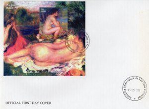 Sao Tome & Principe 2005 AUGUSTE RENOIR Nudes Paintings s/s Imperforated in FDC