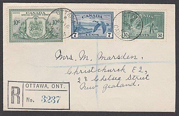 CANADA 1946 50c, 7c Air & 10c Special Delivery registered FDC to NZ.........P109