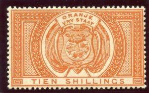 Orange Free State 1882 QV Fiscal Stamp 10s orange MLH. SG F12.