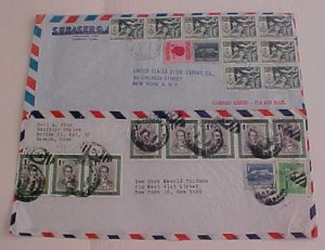 CUBA  10 or MORE STAMPS ON EACH OF 2 DIFF. COVERS 1960's TO USA