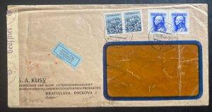 1943 Bratislava Slovakia Censored Window Airmail Cover