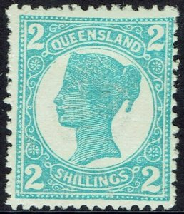 QUEENSLAND 1907 QV 2/- WMK CROWN/A