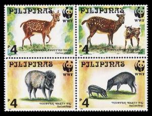 Philippines WWF Spotted Deer and Warty Pig 4v in block 2*2 SG#2992-2995