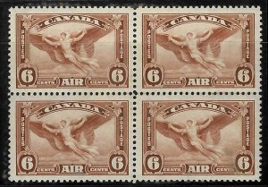 Canada #C5i XF NH Block of 4 C$480.00 -- Yellow Brown Color Shade