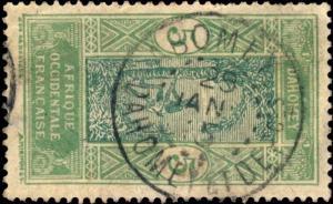 DAHOMEY 1915 CAD ABOMEY / DAHOMEY & DEPces SUR N°46 5c vert-bleu & vert jaune