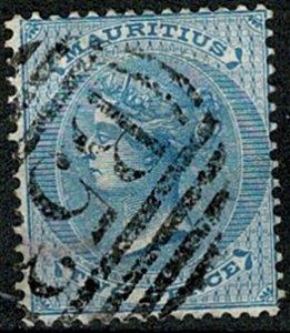 MAURITIUS QV 1863-72 2d PALE BLUE VERY FINE USED SG59 Wmk.CROWN CC VGC
