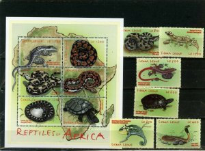 SIERRA LEONE 2001 FAUNA REPTILES SET & SHEET OF 6 STAMPS MNH