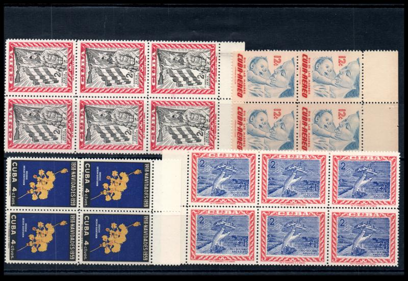 VINTAGE:CUBA ASST ACCUMULATION OF PRISTINE 99% OGNH MODERN BLKS,FEW PL BLOCKS