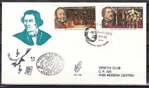 San Marino, Scott cat. 1247-1248. Composer G. Rosinni issue. First day cover.