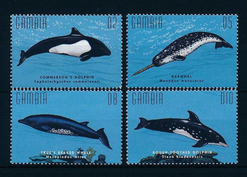 [32207] Gambia 1996 Marine Life Whales Dolphins MNH