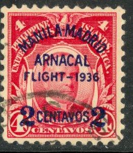 US PHILIPPINES 1936 2c on 4c Manila-Madrid Flight Airmail Issue Sc C54 VFU
