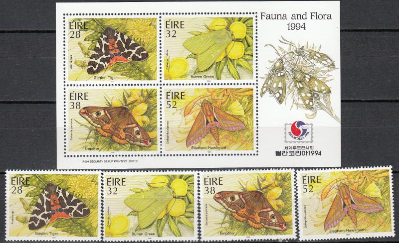 Ireland - 1994 Moths complete set S/S Sc# 931/934 934a - MNH (340)