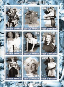 Union of Myanmar 2002 MARILYN MONROE Sheet Perforated Mint (NH)