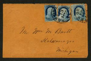 US Scott #23 x 2 & 24 Tied by New Orleans CDS Feb 13, 1860 H/S on Back