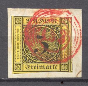 States, Baden Michel 2 a, Red Cancel 133 (Sinsheim), RARE !!