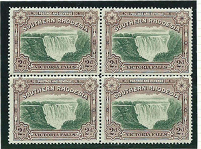 Southern Rhodesia SG 35a MH / MUH block of 4  perf 14 top...