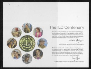 UN 2019 100th ILO Social Welfare Sounvenir Card Mint FD set of 4